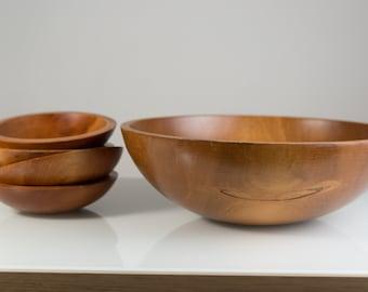 Wood Salad Bowls / 5-piece Set of 1960's Vintage Solid Maple Wood Baribocraft Appetizer Bowl / Food Safe Serving Dish / Hand Carved Hardwood