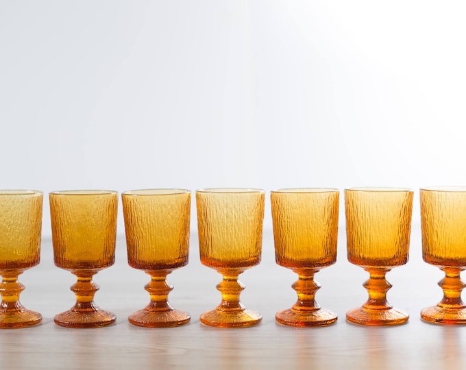8 Vintage Amber Goblets / Set of 8 Amber Colored Textured Wine Glasses - Orange Cocktail Barware Icicle Ice Scandinavian Swedish Stemware