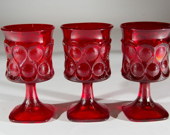 3 Noritake Spotlight Red Goblets - Vintage 8oz Wine Glasses with Thumbprint Pattern - Retro Barware / Glassware / Stemware