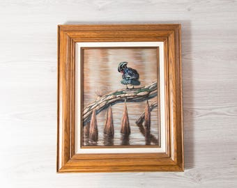 Wood Duck Acrylic Painting / Signed Mia Lane Painting / Rustic Country Scene with Lake, Fowl, Tree Log  / Signed Artwork