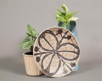 Vintage Marble Dish - Brown Circle Swirl Geometric Decorative Ceramic Handmade Plate - Rustic Brown Scandinavian Finnish Style Design Plate