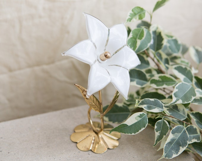 Glass Art Flower with Gold Base - White Floral Glass - Boho Modern Home Decor - Mother's Day Gift - Gift for her
