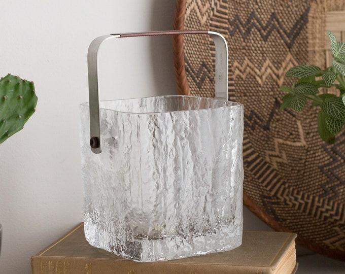 Vintage Glass Ice Bucket - Icicle Texture Style Danish Modern Scandinavian Norwegian Glassware  -Snack Dishes with Metal Handle - Glass Bowl