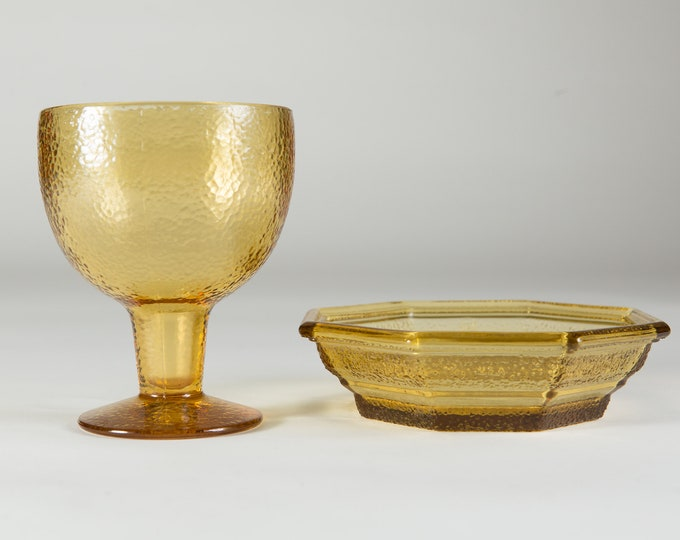 Vintage Glass Goblet and Tray - Amber Colored Glass Bowls - Dessert or Ice Cream Footed Textured Pattern Bowls - Depression Glass
