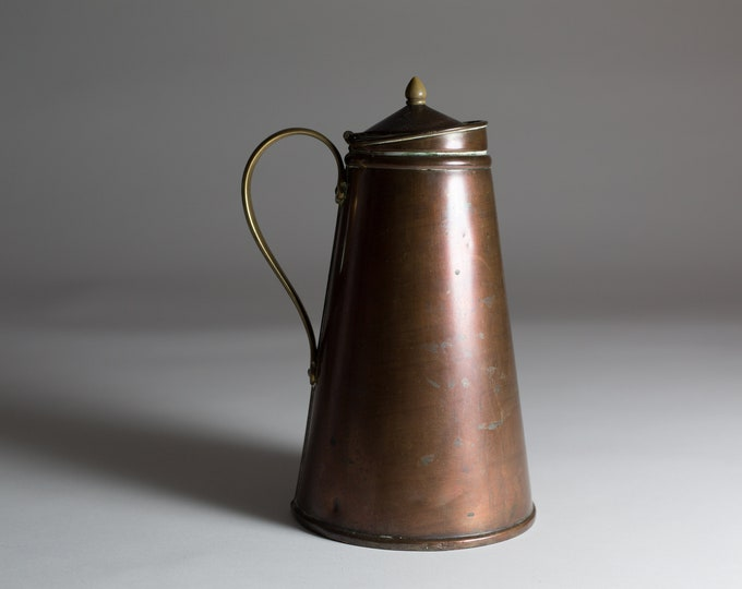 Copper Thermos Pitcher - Antique Mid Century Modern Metal Coffee Thermal Jug with Brass Handle and Knob