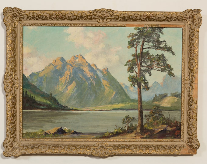 1950's Framed Acrylic Painting on Canvas - Large Original Painting - Vintage Landscape Painting with Mountains, Clouds, Lake and Tree