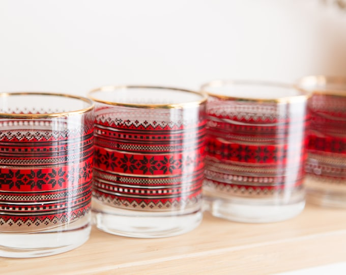 Holiday Cocktail Glasses - Vintage Bar Glasses with Black and Red Snowflake Detailed Geometric Pattern and Hold Lip - Ornate Lowball Barware