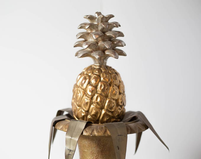 Gold Pineapple Decor / Vintage Gold Gilded Hand Carved Sold Wood Pineapple in Roman Florentine Style Planter / Hollywood Regency Fruit