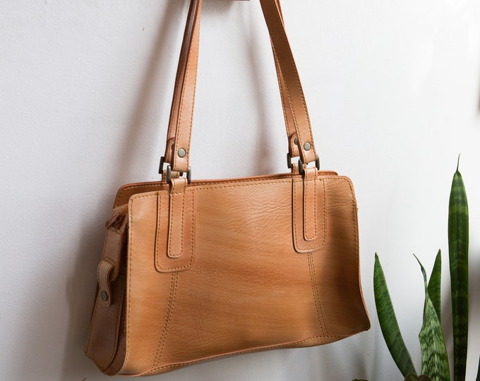 Tan Brown Purse - Vintage Faux Leather Boho Bag - Stylish Minimalist Design Reusable eco Bag Purse