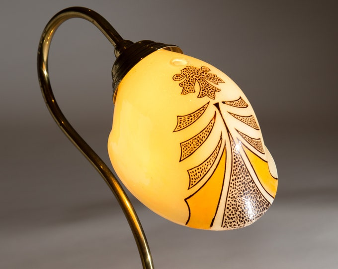 Vintage Glass Shades - Yellow Art Deco Iridescent Hand Blown and Painted Glass Pendant Lamp Shade -Ornate Pattern Art Glass