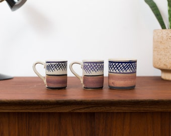Vintage Ceramic Coffee Mugs - Set of 3 Geometric criss-cross pattern Earth-tone Sediment Style cups  in Brown and Blue Expresso Latte Mugs