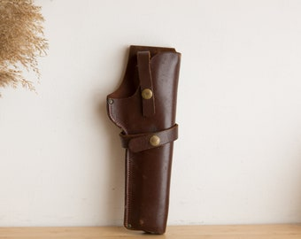 Leather Gun Case - Vintage Brown Leather and Brass Snap Button Pistol / Hand Gun Case - Collectible Militia