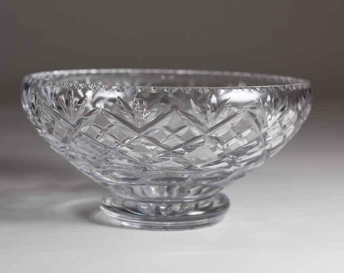 Vintage Cut Glass Crystal Bowl - Clear Glass Serving Bowl -