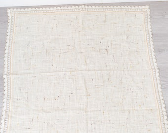 Vintage Speckled Tablecloth - 1970's Off White Cream Mid Century Modern Geometric Style Fabric Tapestry Christmas Table