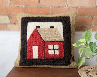 Laura Megroz Hooked Pillow - 16x16 Decorative Throw Pillow with Rustic Cabin Image - American Folk Art