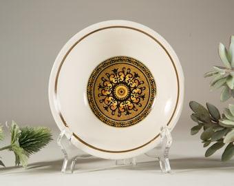 2 Morocco English Ironstone Bowls - Burnt Orange Glaze - Made in Staffordshire England Geometric Pattern Dishware - Earthtone Ceramic Bowls