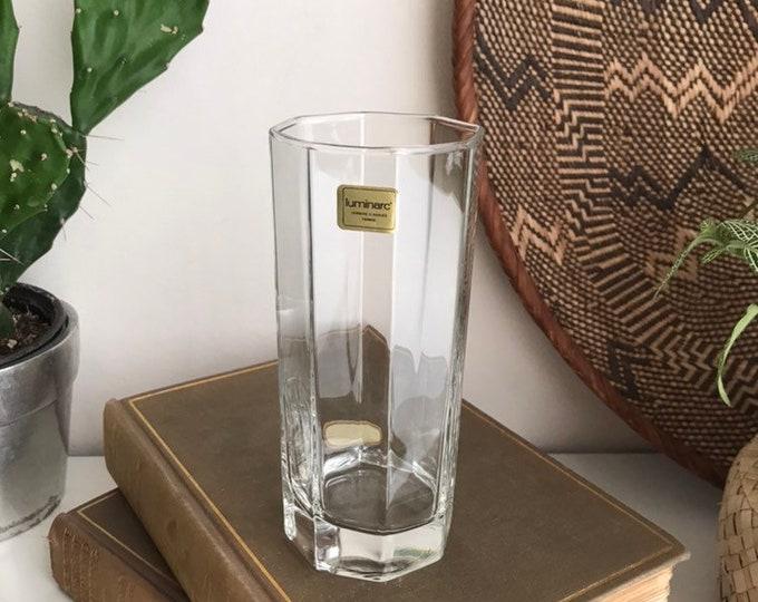 Octagon Glasses - 12oz Vintage Set of Highball Tumbler Barware Glasses - Retro Geometric Drinking Water Glasses