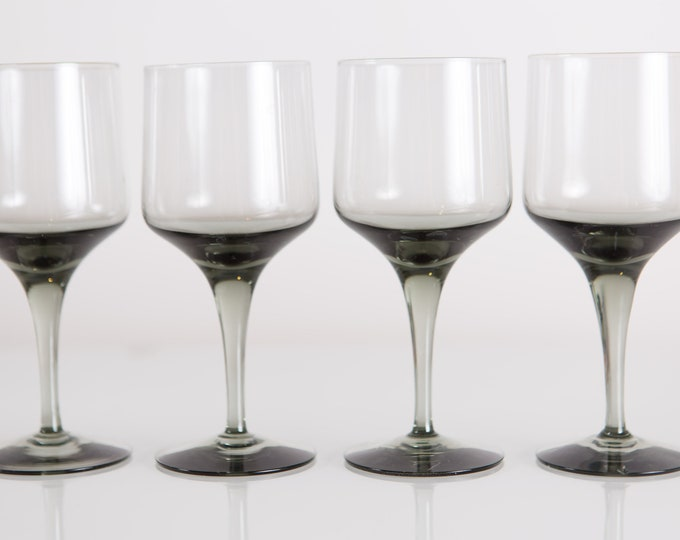4 Smoke Grey Apéritif Glasses - Set of Vintage 6oz Orrefors Rhapsody Glasses (MCM Mad Men 1960's Style Liquor Stemware Barware)