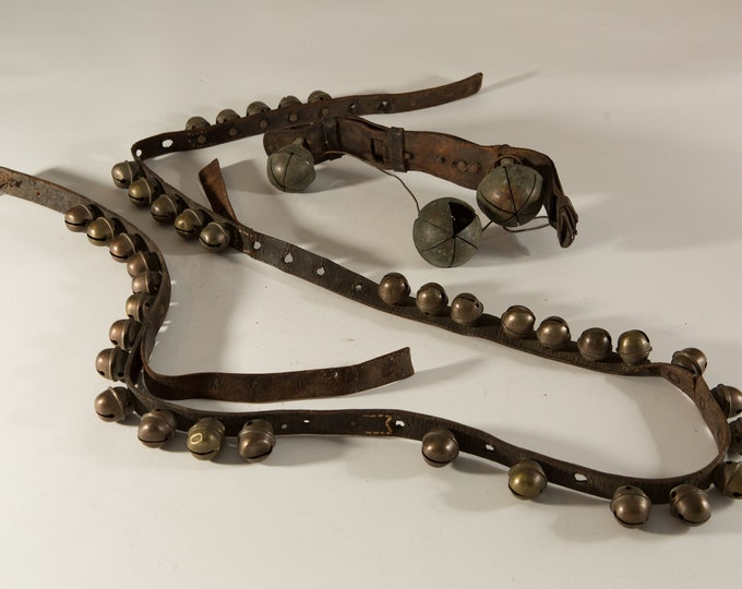 Antique Leather Horse Harness Sleigh Bells -  Vintage Santa's Reindeer Equestrian Collectible - Brass Christmas Bells