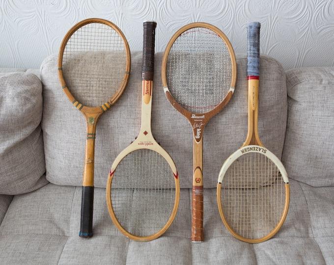 Vintage Wood Tennis Racquets - Set of 4 Wooden Rackets - Retro Sports Wall Decor - Boys Room - Slazenger, Bancroft, Spalding, Dunlop