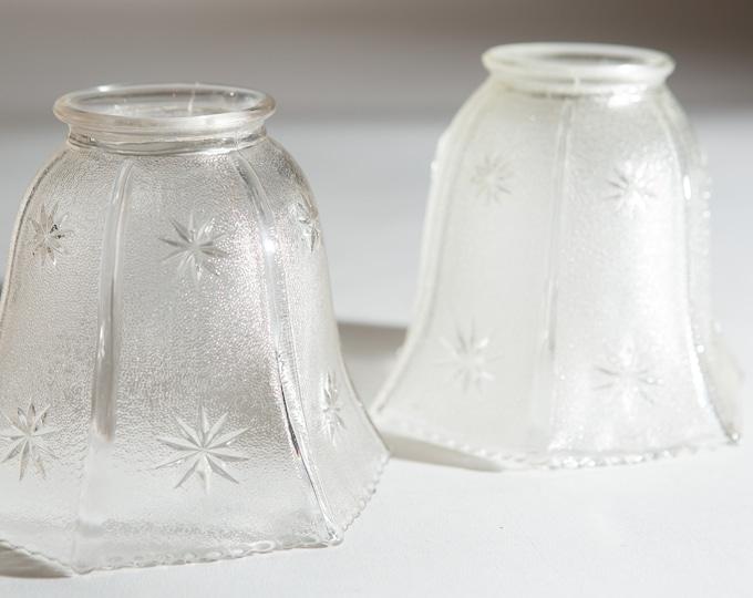 Vintage Starburst Glass Lamp Shades - Translucent Pleated Glass Pendant Chandelier Shade - Sunburst Mid Century Farmhouse Lighting