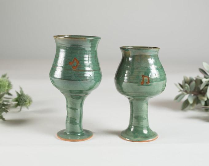 Ceramic Wine Goblets - Pair of 6oz Handmade Speckled Robin's Egg Earthy Vintage Boho Glaze - Studio Pottery Art Wine Glasses