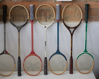 Vintage Wood Squash Racquets - Set of 7 Wooden Rackets - Retro Sports Decor - Girls or Boys Room - Cooper Tournament Racket
