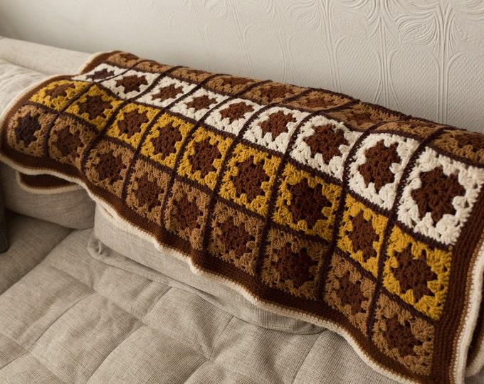 Vintage Knitted Throw - Crochet Rosette Granny Square Afghan - Polyester Brown Checkered Blanket - Boys Room Decor - Nursery room Blanket