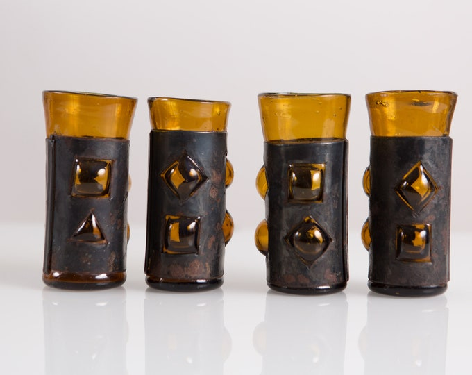 Felipe Derfingher Caged Glasses - Leather Sleeve Amber Bubble Art Deco Mexican Art Glass - Mid Century Boho 5-Piece Set Shot Aperitif Glass