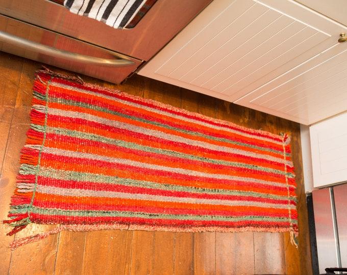 Vintage Woven Rug - Mid Century Modern Fiery Orange Pallet Bohemian Floor Mat - Red, Yellow, Orange red and grey stripe Pattern