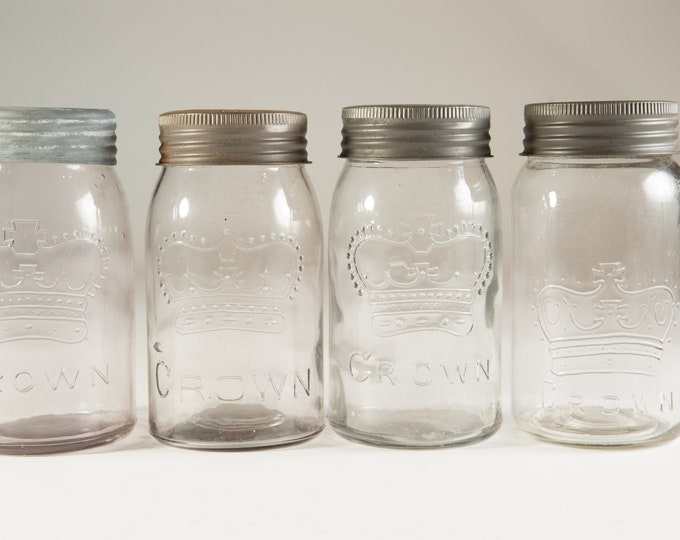 4 Vintage Crown Canning Mason Jars with Purple Tinted Glass (Made in Canada) - Farmhouse Decor Quart Jars - Canadiana Rustic Kitchen