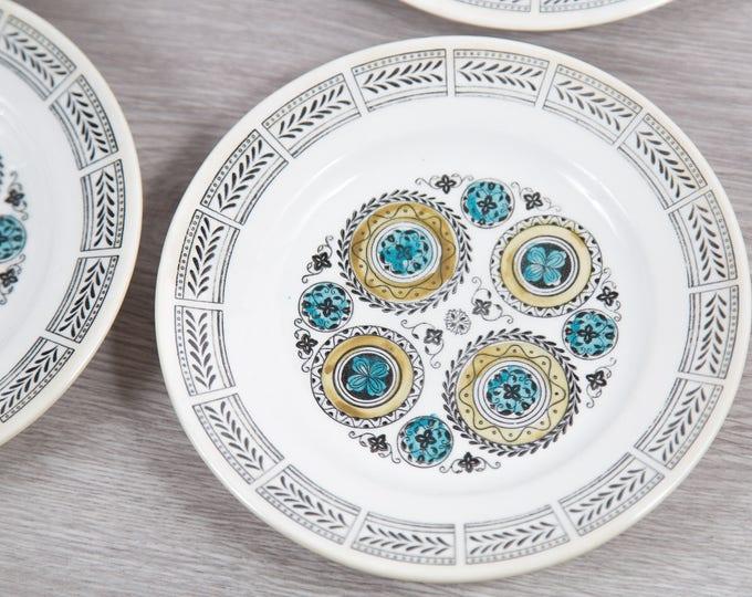 Vintage Kathie Winkle Dinner Plates - Set of 6 1970's Broadhurst Ironstone Handpainted Underglaze Carousel Pattern Dinnerware
