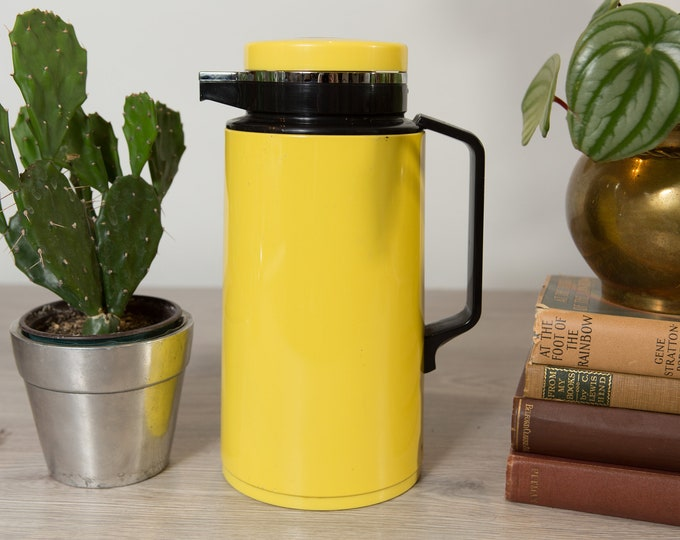 Vintage Yellow Pitcher -  70's Mod Mid Century Modern Coffee or Juice Thermal Vacuum Thermos - Space Age Atomic Norwegian Scandinavian Decor