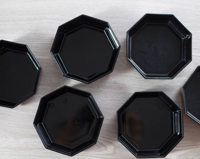 Black Octagon Bowls / Set of 6 Vintage Mid Century Modern Geometric Glass Bowls / Made in France