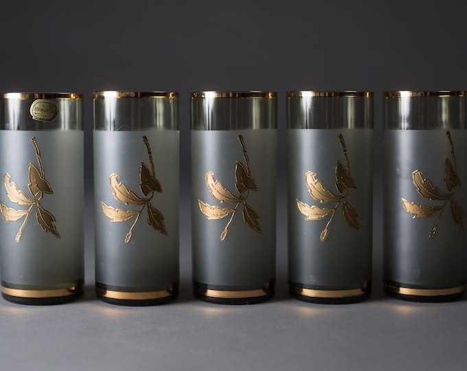 5 Vintage Cocktail Glasses - 8oz  Grey Smokey Tumbler Glasses - Mad Men Retro Barware / Glassware