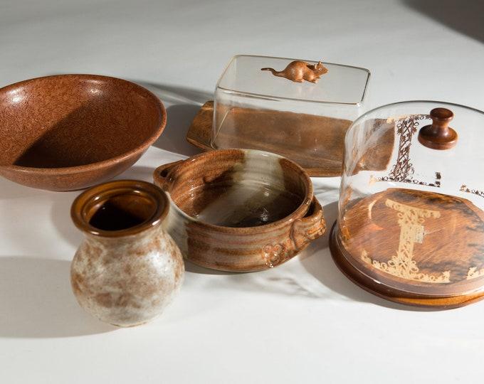 Vintage brown ceramic bowl, vase, butter dish, cheese plate, and bowl - Boho Modern Earthtone Studio Pottery Dish - Rustic Farmhouse Decor