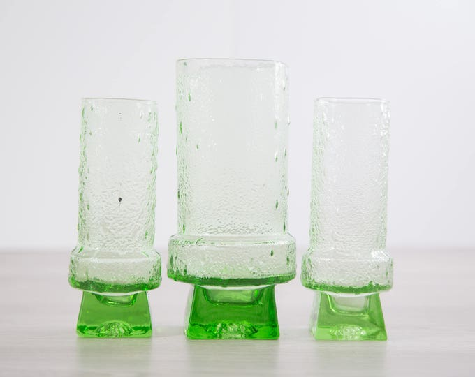 Vintage Green Glass Bar Set / 1960's Mid Century Mod Pitcher and Glasses Barware / Cocktail Set