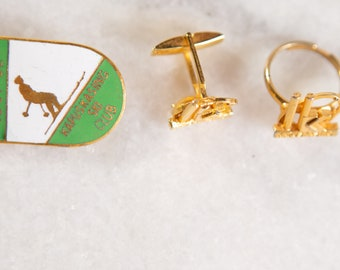 Kapuskasing Ski Club 1951-52 Gold Tone Brooch and Cufflinks Set - Gift for Him or Her - Canadian History