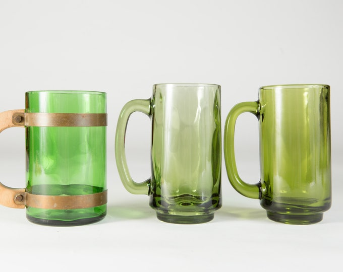 Vintage Green Mugs - 3 Green Glass Beer or Coffee Mugs - Gift for Dad - Father's Day Gift