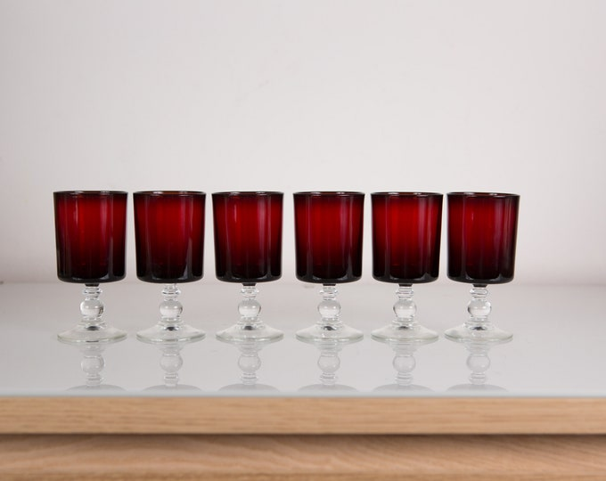 6 Luminarc Cavalier Ruby Red Stemware Glasses with Bubble Stem - 4 ounce Set of Christmas Dinner Table Wine Glasses