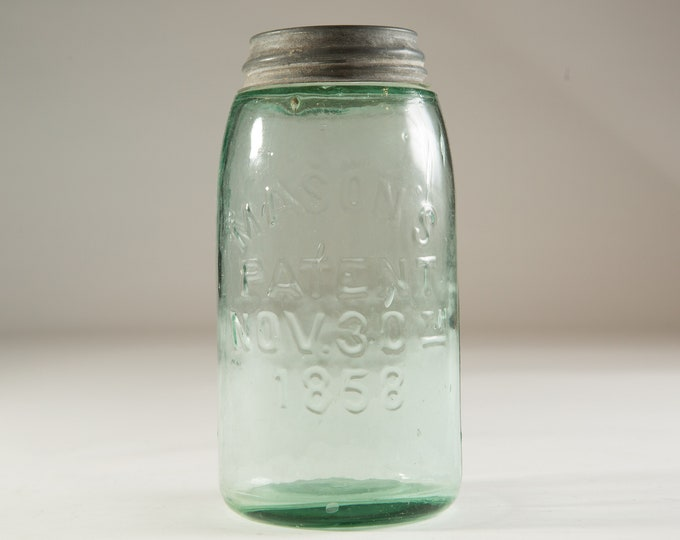 Antique Canning Mason Jar with Blue Tinted Glass (Made in Canada) - Farmhouse Decor Jars - Canadiana Rustic Kitchen