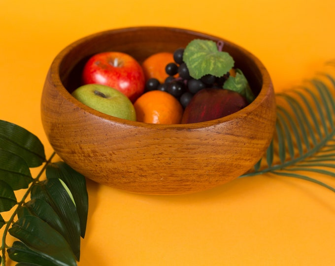 Teak Salad Bowl - Vintage Solid Exotic Wood Food Safe Serving Appetizer Fruit Dish Platter - Hand Carved Hardwood - Danish Modern Nordic