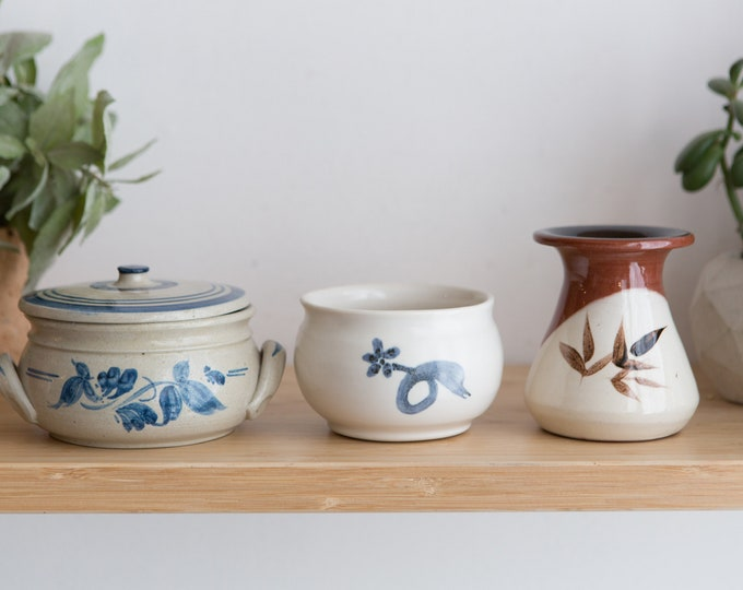 3 Vintage Pots - Small Ceramic Vases / Cups / Containers / Canisters - Floral Vintage Boho Glaze Farmhouse Rustic Studio Pottery