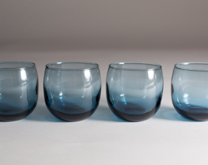 4 Vintage Roly Poly Glasses - Set of Blue Fine Blown Spherical Bar Glassware - Cocktail or Whiskey Low Ball Tumblers