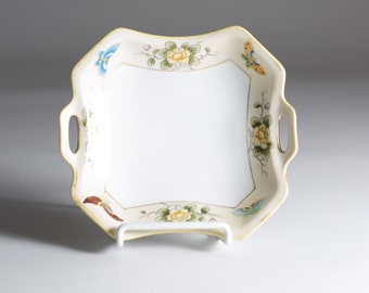 Hand Painted Nippon Square Ceramic Dish with Butterflies