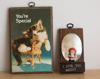 """Vintage Kitsch Artwork - Kitten on Chair """"You're Special"""" - and I Love You Madly With Raggedy Anne"""