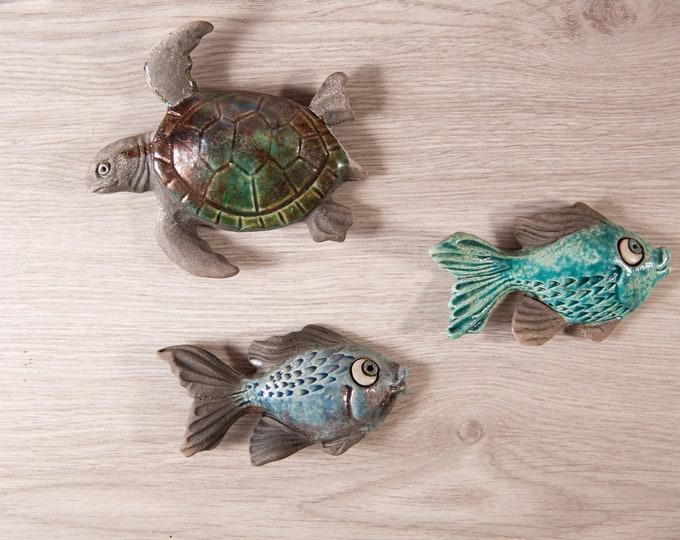 Ceramic Fish and Turtle Wall Hangings - Small Vintage Rustic Coastal Nautical Fishing Ocean Tropical Decor