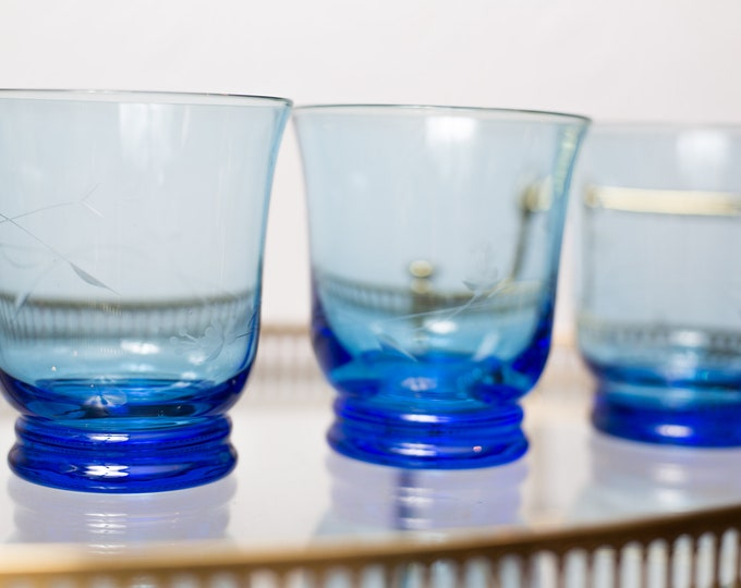 3 Blue  Tumblers - Large Vintage Floral Etched Glasses - Barware Glassware - Hollywood Regency Bohemian Glass - Ribbed Base