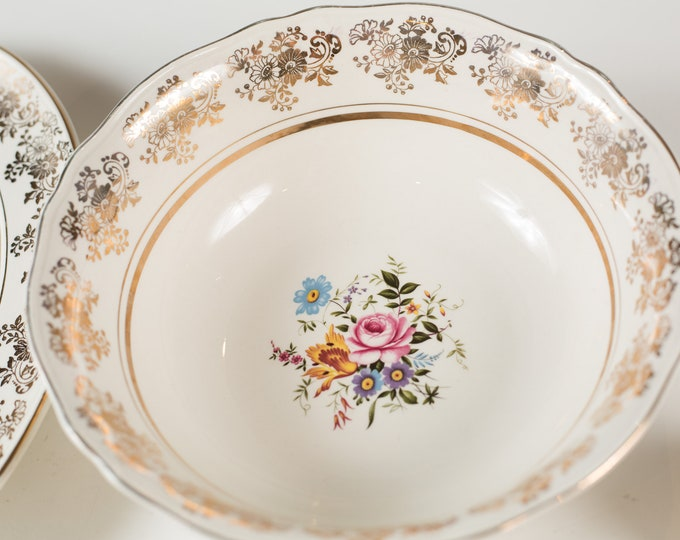 """Alfred Meakin 8"""" Vintage Bowl - English Floral Salad Bowl with Flowers -  Ornate 22kt Golden Posy Bowl - Mothers Day Gift"""