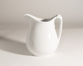 Antique Ceramic Pitcher - Off-White English Powell Bishop Ironstone China Water Jug - French Country Kitchen Farmhouse Collectible Decor